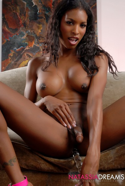 black tranny Natassia Dreams dildoing ass