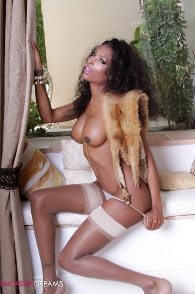 tranny pornstar Natassia Dreams in a lingerie